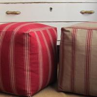 Pouf  grain sack, 40x40x40, pouf rigato, pouf rustico, pouf rosso, pouf shabby chic, pouf quadrato, pouf cubo, poggiapiedi rustico