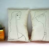 Set cuscini decorativi-cuscini in cotone naturale-cuscini dipinti a mano-home decor-stile minimal-Parigi-cuscini imbottiti-Edizione Limitata